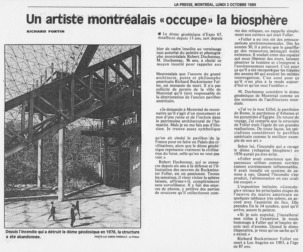 Journal La Presse, Montréal, 2 octobre 1989.