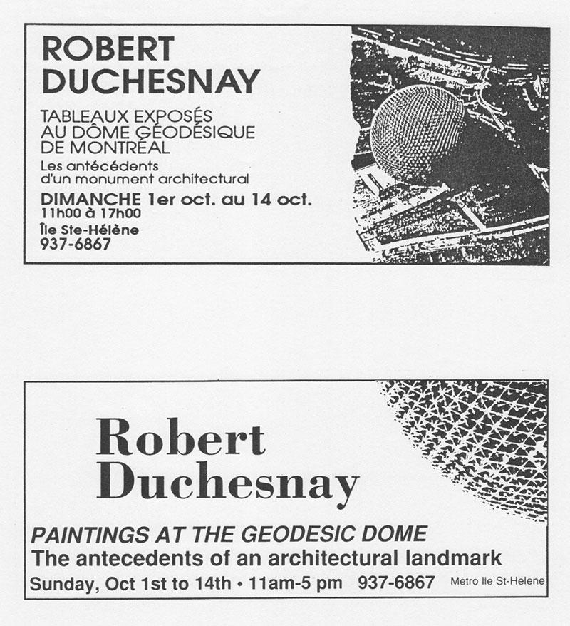 « Occupation du dôme géodésique de B. Fuller », Montréal, 1989.Annonces parues dans Voir et Montreal Mirror, 22–28 septembre 1989.